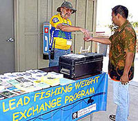 Fisherman exchanging tackle